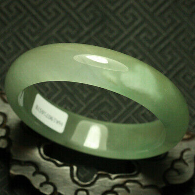 62mm Certified (Grade A) Natural ice Green Jadeite JADE Bracelet Bangle 1473
