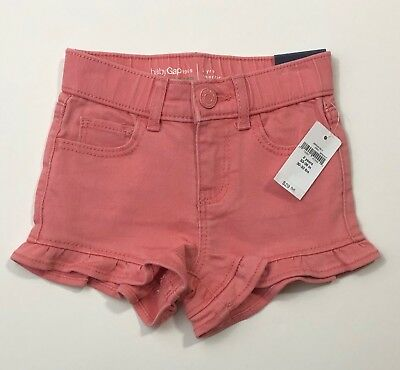 NWT BABY GAP Girls Coral Pink Ruffle Denim Stretch Shorts Size 2T