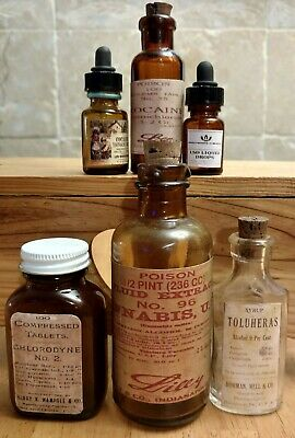 Old Medicine Bottle Hand Crafted,Cannabis,Cocaine,LSD,Heroin Syrup,Morph Can Tab