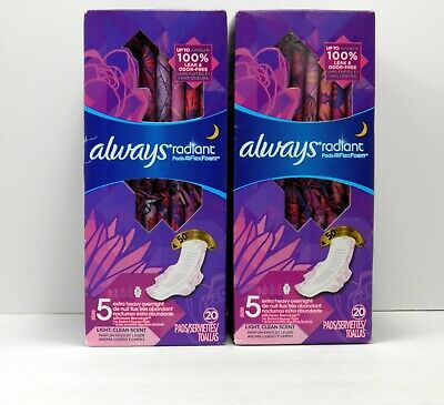 Always Radiant Pads sz 5 Extra Heavy Overnight 20 ct 2 pack 40 Total