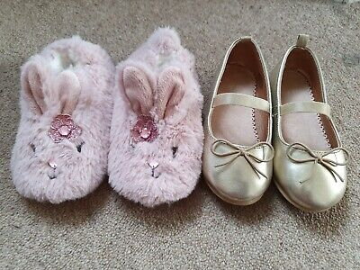 Girls Shoe bundle size 7 infant - H&M gold party shoes & 7-8  bunny slippers