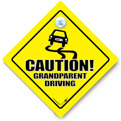 CAUTION GRANDPARENT DRIVING Car Sign, Bumper Sticker, Baby on Board Sign Style