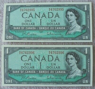 1954 Canada One Dollar Note Uncirculated X 2 Pristine Notes Consecutive...
