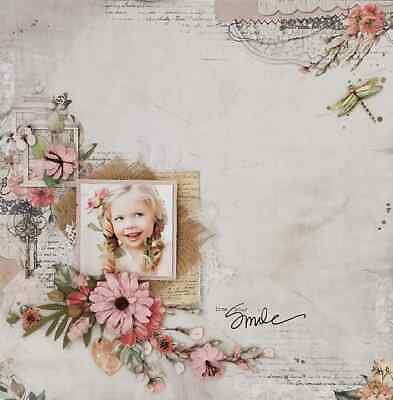 "Handmade Mixed Media 12"" x 12"" Scrapbook Page - Love your Smile"