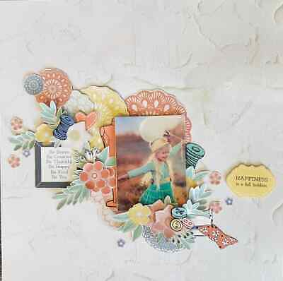 "Handmade 12"" x 12"" Scrapbook Page - Happiness is......."