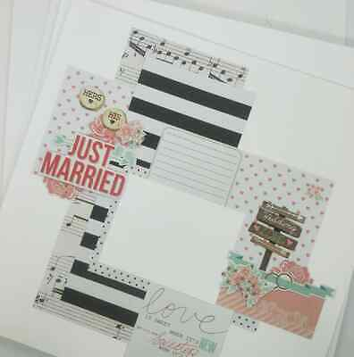"8 Handmade 12"" x 12"" Wedding Scrapbook Pages - Bulk pack - 8 layouts!"