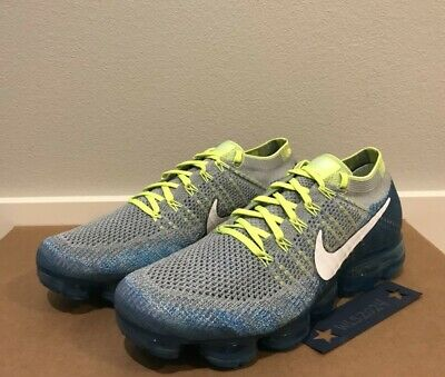 Nike Air VaporMax Flyknit Shoes-Wolf Grey/Wht/Chlor Blue-Men's 10.5 #849558 022