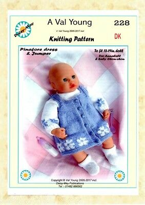 """DOLLS KNITTING PATTERN *290* FOR  18/"""" to 20/"""" doll By Val Young"""
