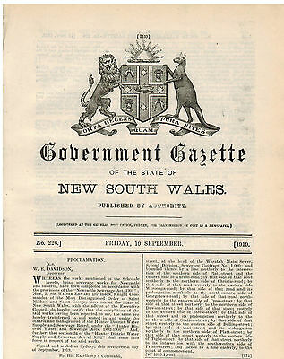 NSW...Government Gazette...No.226...Sept 1919...Appointments, Police Sales...