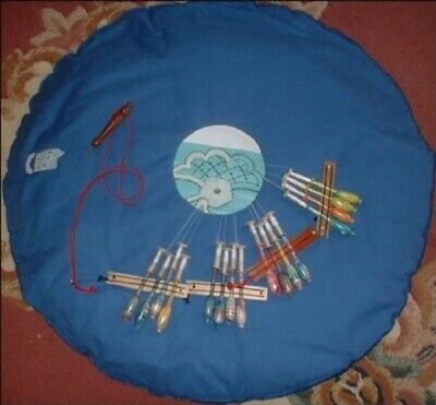 "Round Cover Cloth With Centre Hole  -Fits Up To A 24"" Pillow   Lacemakers Blue"