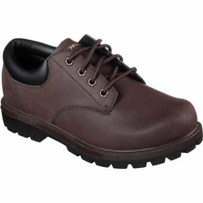 Sketchers Toric Bereno Mens Memory Foam Casual Lace Shoes Work Boot D Brown Size