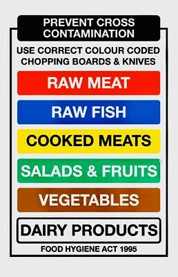 A5 colour coded cutting chopping board catering kitchen food prep sticker notice