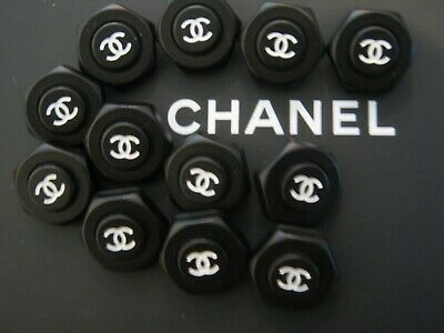 CHANEL 10 BUTTONS BLACK WHITE 19mm , 3/4 inch metal with  cc logo 10