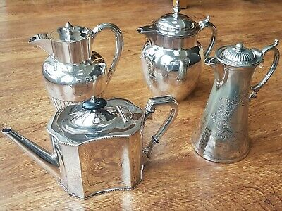 Three Beautiful Victorian Silver Plated Hot Water Jugs & a Silver Plated Teapot