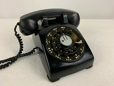 Vintage Rotary Dial Phone Telephone BLACK Mid Century Classic Very Clean Display