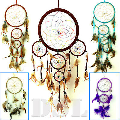 2 Ring Dream Catcher Nylon Feather Handmade American Indian Dreamcatcher UK
