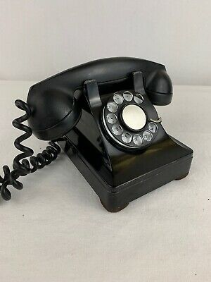 Vintage Rotary Dial Phone Telephone BLACK Mid Century Classic Very Clean 1940s