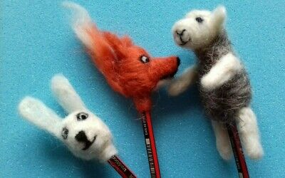 Hare Pencil Toppers British Rare Breeds wool needle felt kit