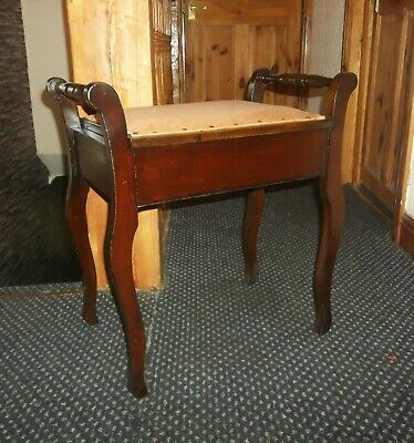 Antique Oak Piano Stool With Lift Up Seat  And Storage Inside