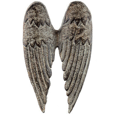 Vintage Antique Look Distressed Cast Iron Angel Wings Spiritual Metal Wall Decor