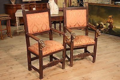 Antique Thrones Carved Chairs Italian Decorations Feral Masks Gilding 800 XIX