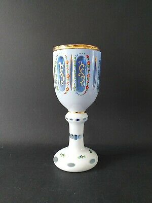 Beautiful Murano Venetian? Glass blue & white goblet  handpainted 19.5cms  Tall