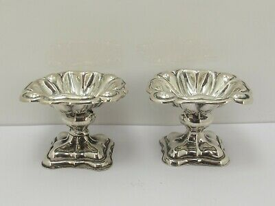 Pair Of Antique Victorian Hallmarked Sterling Silver Raised Dishes c1856