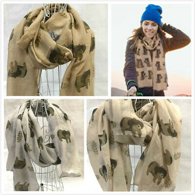 Womens Cute Cat Pattern Print Scarf Shawl Ladies Soft Long Scarves Fashion Gift