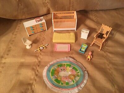 Vintage Tomy Smaller Homes Dollhouse Nursery Complete Set Baby & Extras