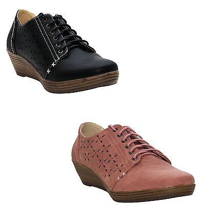 Womens Ladies Formal Lace Up Loafers Wedge Heel Office Work Comfy Casual Shoes