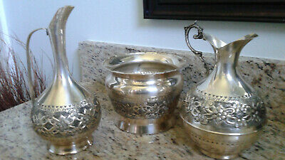 Ornate ENGRAVED ~ SILVER Plated ~ Set - Excellent Condition, Turkish made