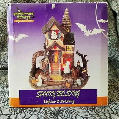 Spookyside Estates Collection Haunted House Spooky Building Lighted Rotates