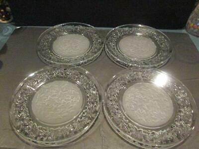 "Princess House Fantasia 4 Dinner Plates 10""D.#511Frosted Center Nice Gently Used"