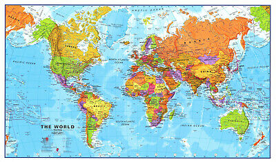 World Map Learning Poster   A4 Size   Laminated   HD Print   Educational Kids