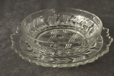 Vintage EAPG Glass Star & Chevron Pattern Mayo Bowl & Attached Underplate