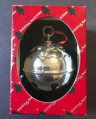 Reed & Barton Holly Bell Ornament (Sleigh Bell, Silver Plated) - 1996 - with Box