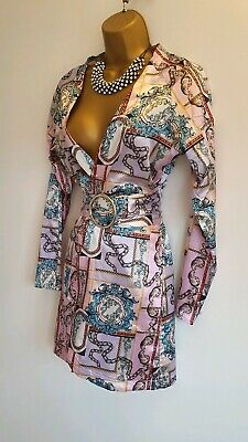 Pretty little Thing Worn once Pink Purple Scarf print Wrap Belted Shirt dress 8
