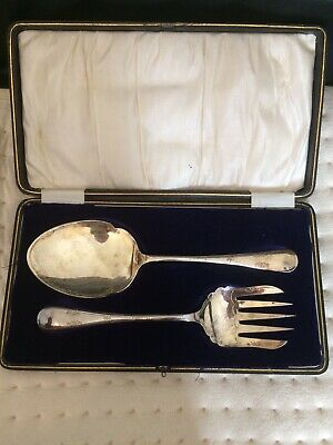 Antique Heavy Silver Plate Cake/Fish Slice And Fork Pre 1910 Edwin Blyde &Co