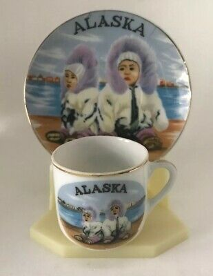 Souvenir Mini Cup & Saucer Alaska Cup & Sauce Only, Display Stand not Included