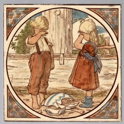 George Woolliscroft & Son - c1885 Crying Children At The Fountain  Antique Tile