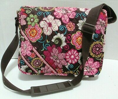 VERA BRADLEY MOD FLORAL PINK Messenger Laptop Bag Retired Lots Pockets VGC