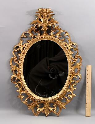 Large Antique 25.5in Italian Rococo Carved Gold Gilt Wood Painting Mirror Frame