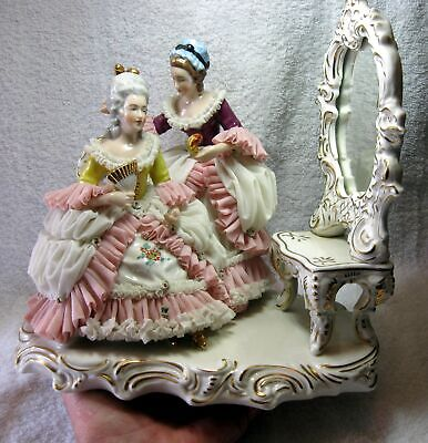 Large Exceptional Dresden volkstedt German Porcelain Lace Group Figurine 2 Woman