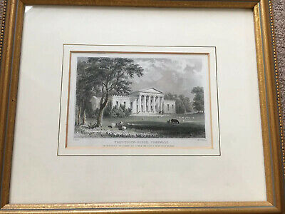 Antique Print Trelissick House Cornwall