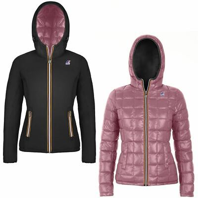 Giubbino K-way bimba Lily thermo plus double black, pink dusty AI19