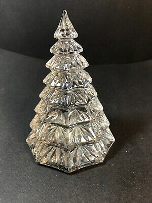 "Waterford Crystal Clear Christmas Tree Sculpture Figurine 6.5"" Tall"