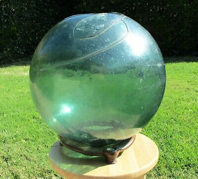 "Antique 14"" Large Green Glass Japanese Fishing Float Bubles Half-Mold Pontil"