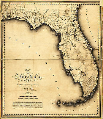 First Map of Florida by Charles Vignoles 1823 Gulf of Mexico State Wall Poster