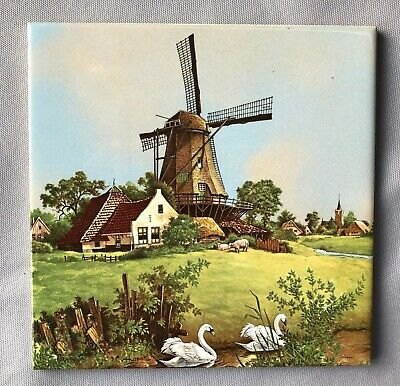 Royal Mosa Holland  Schwabap Ter Steege Tile Hand Decorated 1984 Tourist