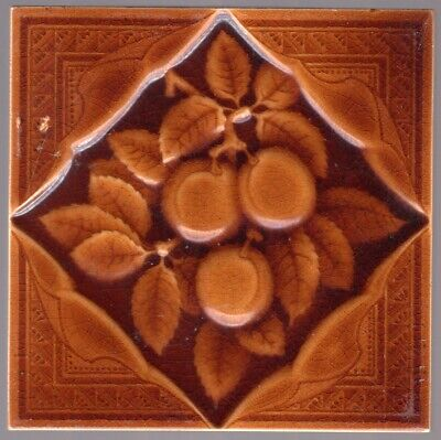 Decorative Art Tile Co. - c1890 - Brown Plums - Antique Victorian Majolica Tile